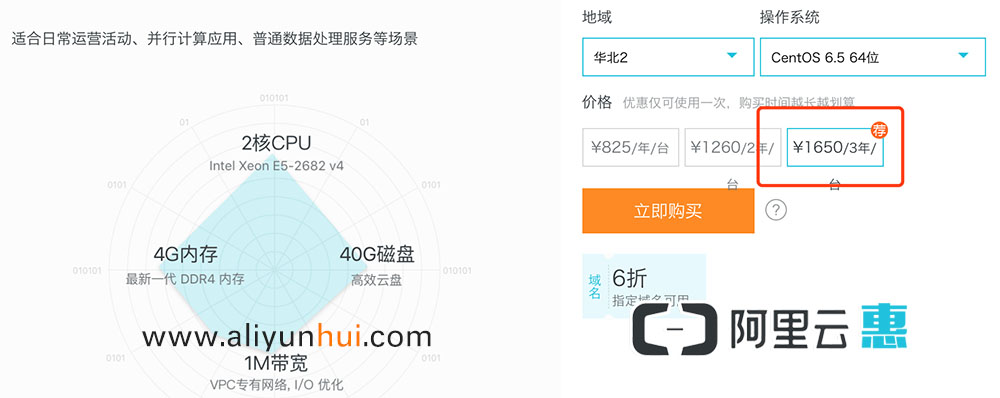 阿里云2核4G服务器ECS3年1650元!