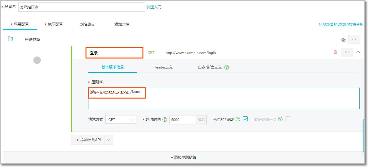 压测API和URL设置